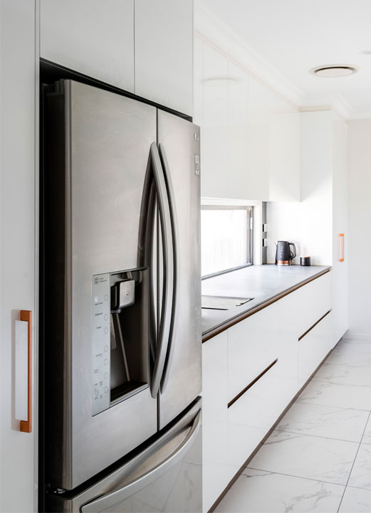 The Wellness Kitchen Queensland Kitchen + Bathroom Design fridge and bench